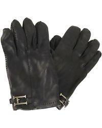 Hermès Guantes de cuero h - Negro