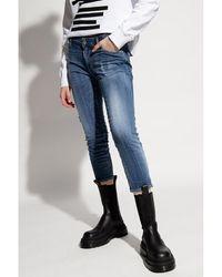 Saint Laurent Jean Twiggy court taille moyenne - Bleu