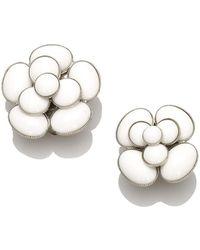 Chanel Vintage Camellia Earrings Brass - Gris