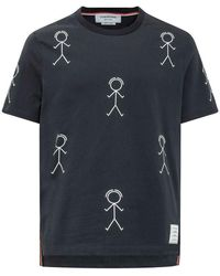 Thom Browne T-shirt With Mr. Thom Icon All-over - Blauw