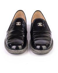 Chanel Vintage Patent Calfskin CC Mocassin Loafer Espadrilles Negro