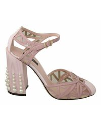Dolce & Gabbana Pearls Ankle Strap Sandals Shoes - Roze