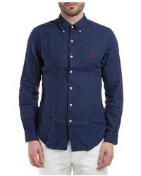 Polo Ralph Lauren Men's Long Sleeve Shirt Dress Shirt - Blauw