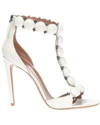 Alaïa Heeled Leather Sandals - Wit