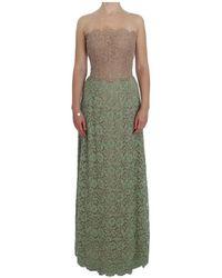 Dolce & Gabbana Floral Lace Corset Maxi Dress - Verde