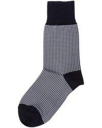Be Soft Men's Low Socks Pied De Poule - Zwart