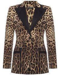 Dolce & Gabbana Giacca Leopard-stampato - Marrone