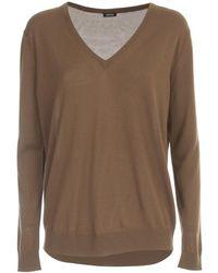 Aspesi Oversized Sweater V Neck - Marron