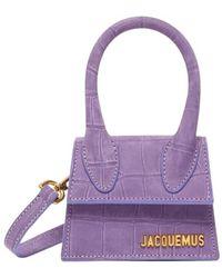 Jacquemus Sac en cuir suédé effet croco Le Chiquito - Violet