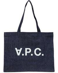 A.P.C. Daniela Shopper With Logo Print - Blauw