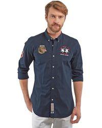La Martina Long Sleeve Slim Fit Shirt For Men - Blauw