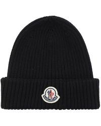 Moncler Hat With Logo - Zwart