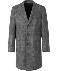 Canali Wool And Silk Herringbone Coat - Grau