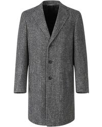 Canali Wool And Silk Herringbone Coat - Grijs
