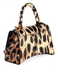 Balenciaga Bolso de hombro Hourglass XS de piel con estampado de leopardo Beige - Amarillo