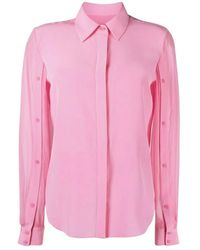 Karl Lagerfeld Silk Blouse W Buttoned Sleeves - Roze
