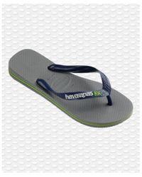 Havaianas Brasil Logo Flip Flops Gris