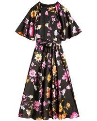 Ted Baker Ossiee Half Lang Bloemen Kleed - Zwart