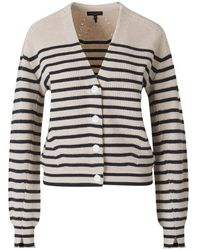 Rag & Bone Striped Cashmere Knit Cardigan - Neutre
