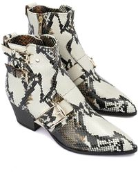 Baldinini Snake printed leather ankle boots Blanco