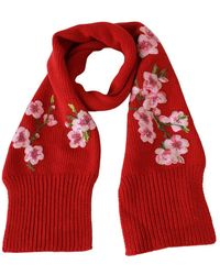 Dolce & Gabbana Floral Embroidered Wrap Cashmere Scarf - Rood