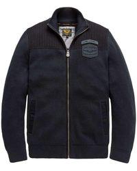 PME LEGEND Zip Jacket Cotton Double Knit Salute Gebreide Vesten - Blauw