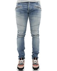 Balmain B Embossed Slim Jeans-medium B - Blauw