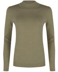 EsQualo Sweater Basic Curl Neck - Groen