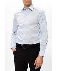 Emporio Armani Camisa de algodón LS Azul