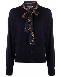 Boutique Moschino Scarf-detail Wool Cardigan - Blauw