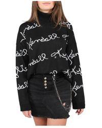 Kendall + Kylie Knit Turtleneck Logo Glitter - Zwart