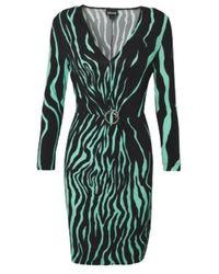 Laneus Mint Standard Dress With Ruffled Buckle - Zwart
