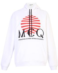 McQ Logo Embroidered Cotton Hoodie - Wit