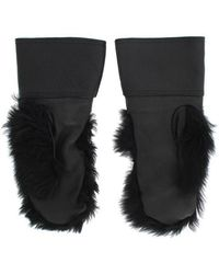 Dolce & Gabbana Sheepskin Shearling Fur Gloves Negro