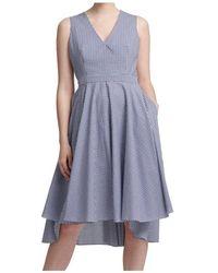 DKNY Womens Dress Blue Size 16 A-line Checkered High Low Midi - Blauw