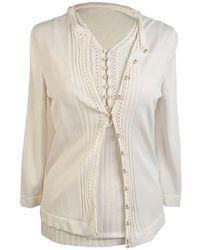 Hermès Twin Set Cardigan En Mouwen - Wit