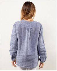 Bagutta Camicia serafino in lino - Bleu