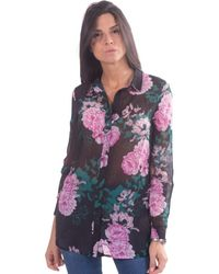 Guess Shirt Met Floral Fantasy - Roze
