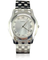 Gucci Stainless Steel Mod 5500 M Wrist Watch White Dial - Grijs