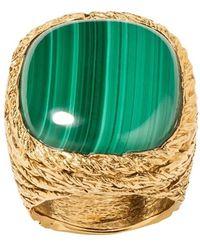 Aurelie Bidermann Miki Malachite Gold Plated Ring - Geel