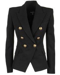 Balmain Serge Double Breasted Blazer Jacket - Zwart