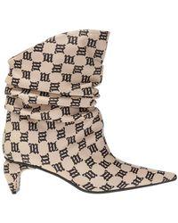 MISBHV Ankle Boots With Monogram - Naturel