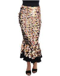 Dolce & Gabbana Sequined Peplum High Waist Skirt - Zwart