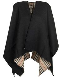 Burberry Icon Stripe Wool Cape - Zwart