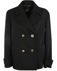 Versace Crystal Medusa-button Double-breasted Peacoat - Zwart