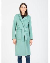 ..,merci Long lagoon coat with belt Verde