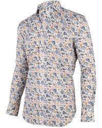 Cavallaro Overhemd Shirt Bloem Print - Blauw