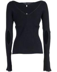 Eudon Choi Sweater V Neck W/holes Azul