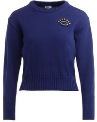 KENZO Eye Sweater With Applied Pearls - Blauw