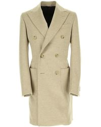 Lubiam Spear-breasted Double-breasted Coat - Naturel